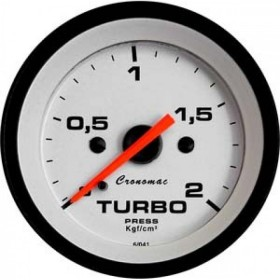MANOMETRO CR PRES TURBO 2KG 52MM STREET BRANCO
